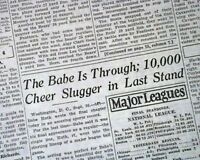 Historic BABE RUTH Ends Careeer w/ NEW YORK YANKEES Baseball 1934 Old Newspaper