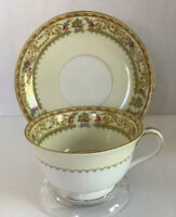 Vintage, Noritake China Japan, Lebrun - Tea Cup And Saucer Set Gilt/Gold Trim