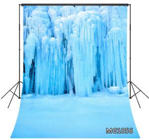 Beautiful Winter Ice Waterfall Studio Backdrop 5x7ft Vinyl Photo Background Prop