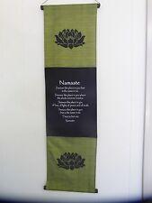 Large inspirational balinese affirmation wall hanging banner Namaste - Olive
