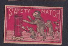Ancienne  étiquette allumettes Japon BN55996 Singe Boîte aux lettres