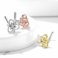 3 Pc CZ Heart Filigree Top  Surgical Steel L Bend Nose Screw Ring Piercing 20g