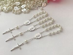 60 Mini Rosary Off White Baptism FavorVintage Silver/Communion Favors/recuerdito
