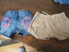 Lot 2 Gap Kids Yaso Khaki Jean Shorts EMBROIDERED PEACE Adjustable Waist 5 5T