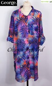 NEW WOMEN'S MULTI COLOURED BEACH SHIRTS-COVER UP BY GEORGE - SIZE L UK16/18