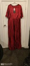 PRETTY LITTLE THING DRESS SIZE 18 RED SATIN LONG PLEATED  NEW