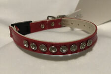 Mirage Pet Products One Row Clear Jewel Croc Dog Collar Red Size 10 Bling