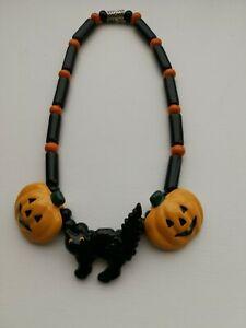 Vtg FLYING COLORS Signed Halloween Black Cat Orange Pumpkin Ceramic Necklace