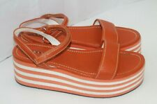 PRADA Wedge Ankle Strap Sandals Leather/foam Womens Size 39 Italy