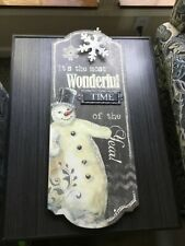 Christmas Snowman hanging wall decor Beautiful NEW! Sale helps shelter