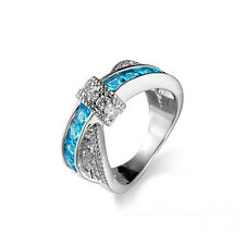 Girl Aquamarine Criss Cross White Gold Filled Wedding Ring Size 8 Jewelry BYC100