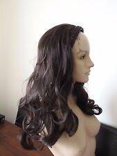 very dark brown wavy curly 3/4 half head long hair wig on headband fancy dress