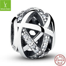 Authentic Fine 925 Sterling Silver Galaxy Clear CZ Ball Charms Fit US Original