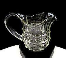 "EAPG SIGNED GLASS BLOCK PATTERN CLEAR 3 1/2"" CREAMER 1850-1915"