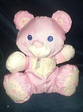 1994 Fisher Price Puffalump Pink Bear Rattle Baby Lovey Plush Bib Hearts 1216