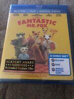 New ! 🔥 Sealed The Fantastic Mr. Fox (Blu-ray/DVD, 2010, 3-Disc Set) 🔥