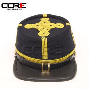 Civil War Union Navy blue Generals leather peak Gold Braid kepi with Green Band