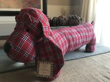 New Red Plaid Fabric XL Dachshund Weiner Dog Doxie Door Stop w/ Weighted Feet