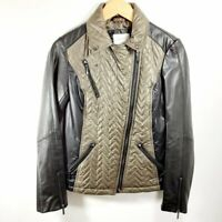 Laundry by Shelli Segal Green Quilted Moto Zip Jacket w/ Faux Leather Sleeves