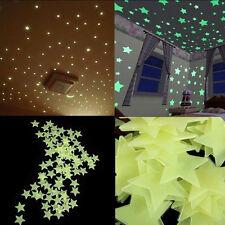 Hot 100pcs 3D Stars Glow In The Dark Luminous Fluorescent Bedroom Wall Stickers