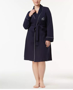 NWT Lauren Ralph Lauren Plus Size Shawl Collar Robe sz 3X Navy 17229