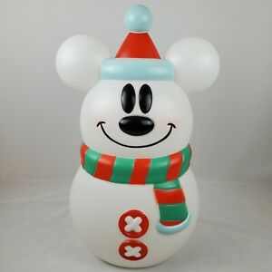 """Mickey Mouse Disney Snowman Christmas Lighted Blow Mold 24"""" Lawn Decoration New"""