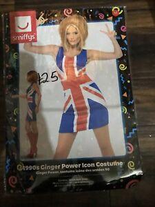 Smiffys 29540M Ginger Power Union Jack Dress - Size M, Multicolored