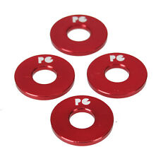 """Porkchop BMX ALUMINUM Bicycle Axle Washers for 3/8"""" axles - RED (SET OF 4)"""