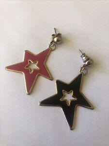 80s Vintage Star  Enamel Metal Earrings New Wave Pierced Dangle