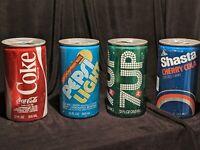 4 Vintage 3 Pull Tab & 1Pop Top Soda Cans Coke 7Up Pepsi Lite Shasta