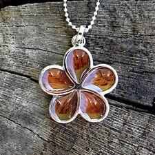 Hawaiian Koa Wood Plumeria Flower Silver Rhodium Plated Brass Pendant BRP1156