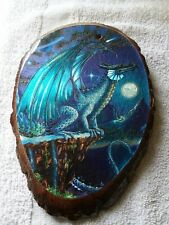 Winged Dragon wood art Decor lacquered wall plaque 9x6
