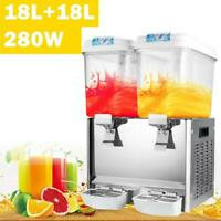 18L x 2 Tank Commercial Juice Beverage Dispenser Machine Frozen Cold Fruit Drink