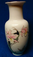 Fine China Japan White Vase with Pink Ivory Flowers & Gold Trim Great Condition