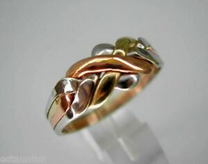 Tri-Color Gold 14k  Solid 4 Band Turkish Puzzle Ring - SHIP FREE EVERYWHERE
