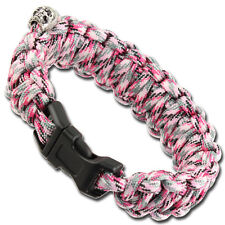 Military Braided Skullz Survival Women's Outdoor Pink Camo Paracord Bracelet