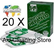 20 x numatic henry hetty gen sacs pour aspirateur micro sacs hoover sac