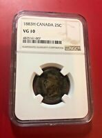 Canada 25 Cents 1883-H NGC VG 10