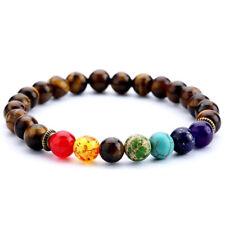 Cuff Unisex men 8mm Tiger Eye Chakra Beads Bracelet Wrist Tibet silver