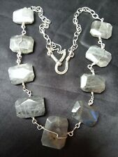 BOHEMIAN Chunky Labradorite Gemstone silver-plated Wire wrap long Chain NECKLACE