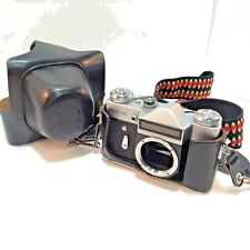 Zenite - E USSR Camera Body w/ Matching Leather Cover Case Strap For Parts Only