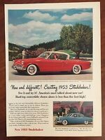 Vintage 1953 Original Print Ad Red STUDEBAKER LAND CRUISER Sporty Car