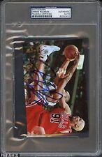 Dennis Rodman Bulls Jump w/ Ball Photograph Signed AUTO PSA/DNA Certified