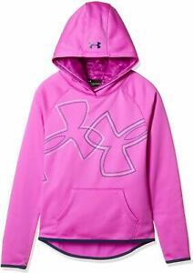 NWT UNDER ARMOUR Girls Armour Fleece Dual Logo Hoodie Fuchsia Size S (7-8)
