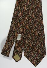 Joseph Abboud 100% Silk Brown Necktie Leaf Design Made in Italy