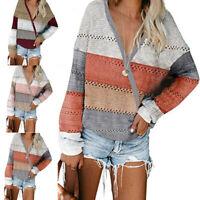 Women Long Sleeve Knit Hooded Sweater Ladies Patchwork Hoodie Pullover Jumper