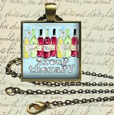"""""""Group Therapy"""" Fun Wine Drinking Glass Top Pendant Necklace 24"""" Chain"""