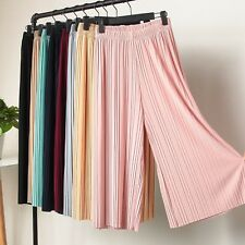 UK Casual Womens Pure High Waist Pleated Pants Wide Leg Palazzo Elastic Trouser