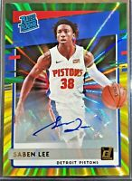 Saben Lee 2020-21 Donruss Auto Rated Rookie YELLOW GREEN Laser RARE AUTOGRAPH RC