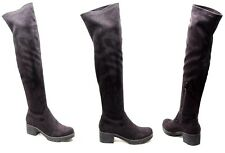 Womens Ladies Suede Over The Knee Ankle Boots Shoes Block Heel Platform Stretch